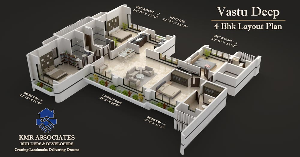 Floor plans vastu deep kmr associates for Four bhk bungalow plan